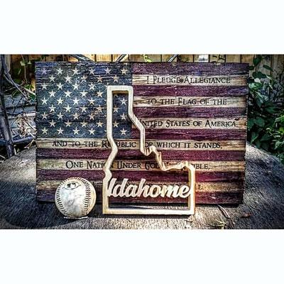 Shop Pocatello Ideas on Wood US flag and state