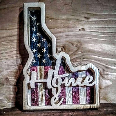 Shop Pocatello Ideas on Wood Idaho and us flag