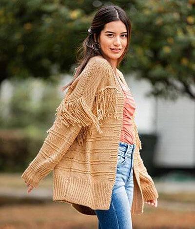 Shop Pocatello Buckle pieced cardigan sweater